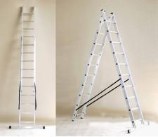Aluminijska dvodijelna višenamjenska ljestva sa 2x14 stepenica 40-14