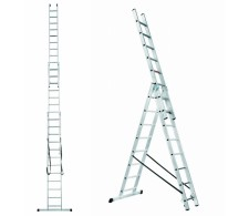 Trodijelne višenamjenske aluminijske merdevine / ljestve sa 3x15 stepenica 38-15